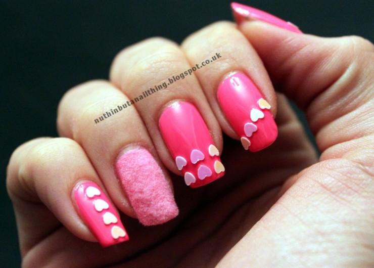Pink Velvet Valentines Nails