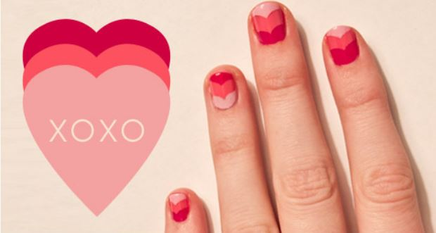 valentines day chevron nails