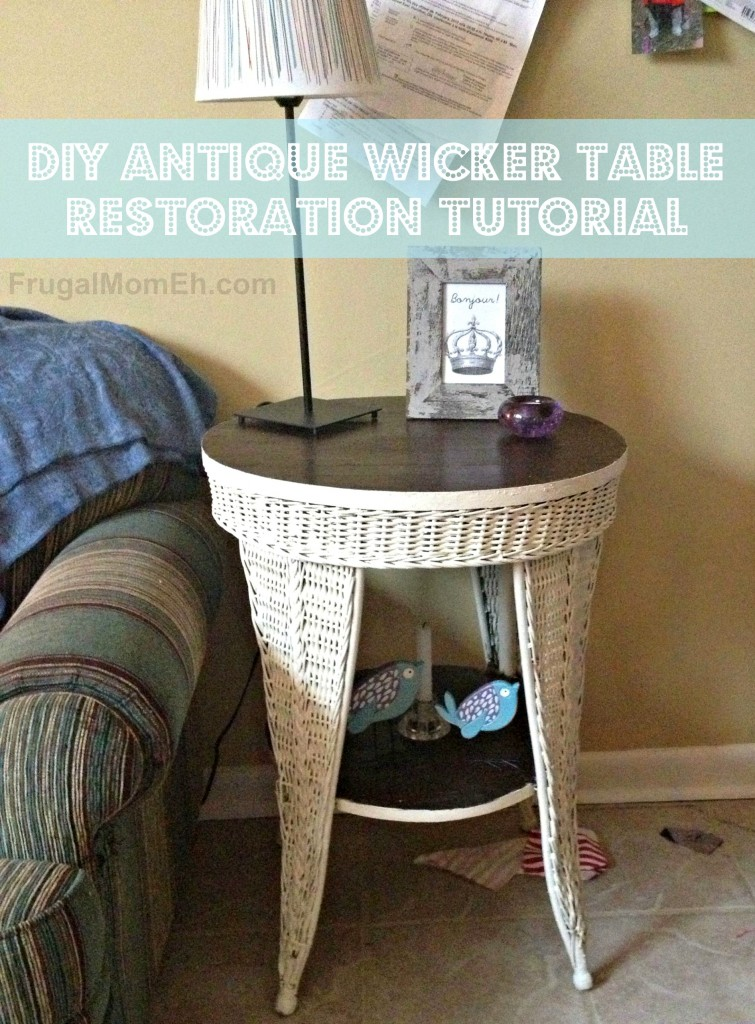 DIY Antique Wicker Table Restoration Tutorial.  This is a great way to update your home decor with vintage pieces!