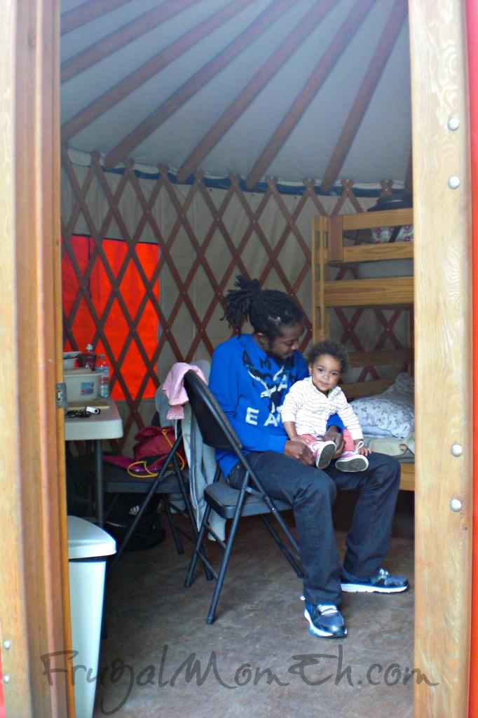 Inside of Yurt at Santa's Whispering Pines Campground