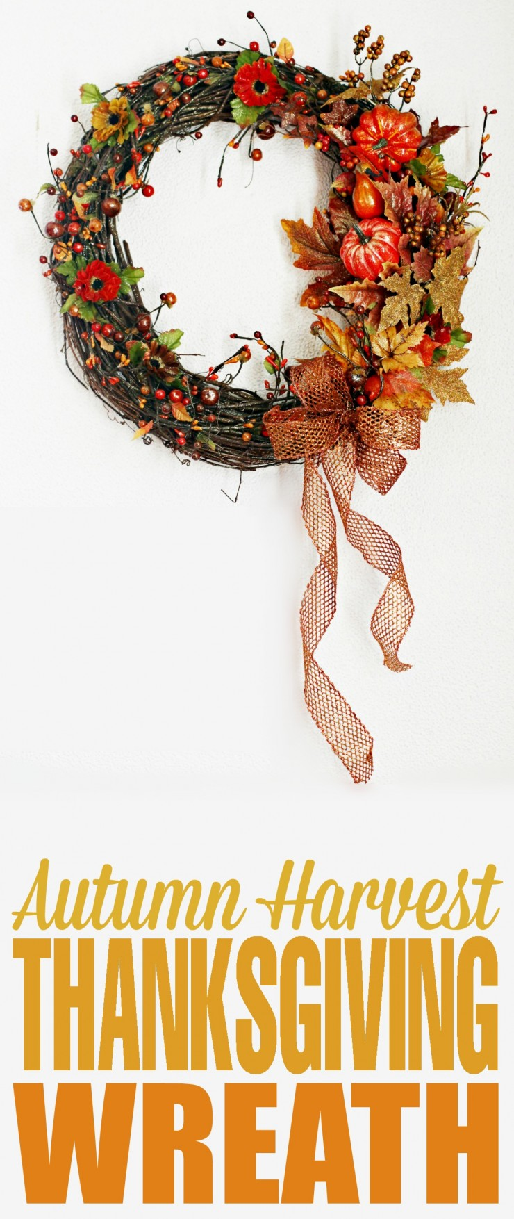 This Autumn Harvest Thanksgiving Wreath is a an easy craft project with fabulous results. It looks great handing on a wall or front door!