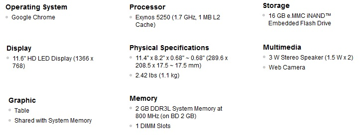 Chromebook Specifications