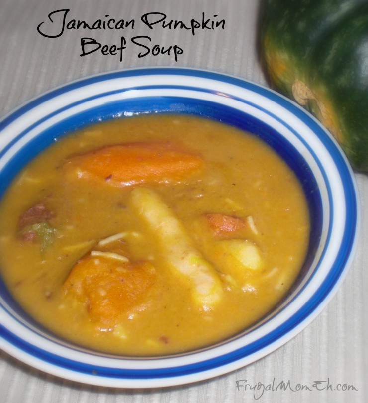 Jamaican Pumpkin Beef Soup is filled with small, elongated dumplings ...