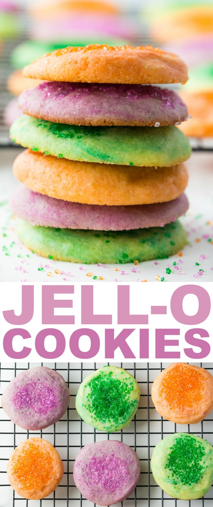 These Jell-O Cookies are a really fun twist on a sugar cookie that will be sure to be a hit with kids because of their bright colour and flavour.