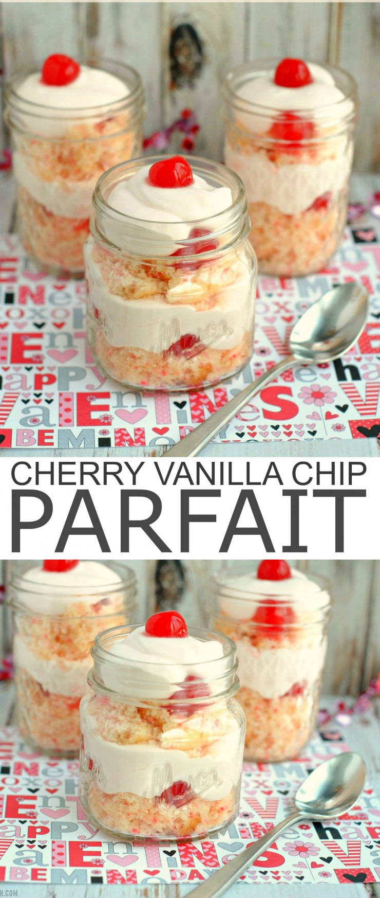 This Cherry Vanilla Chip Parfait is an easy but romantic dessert I wanted to share with you just in time for Valentine's Day.