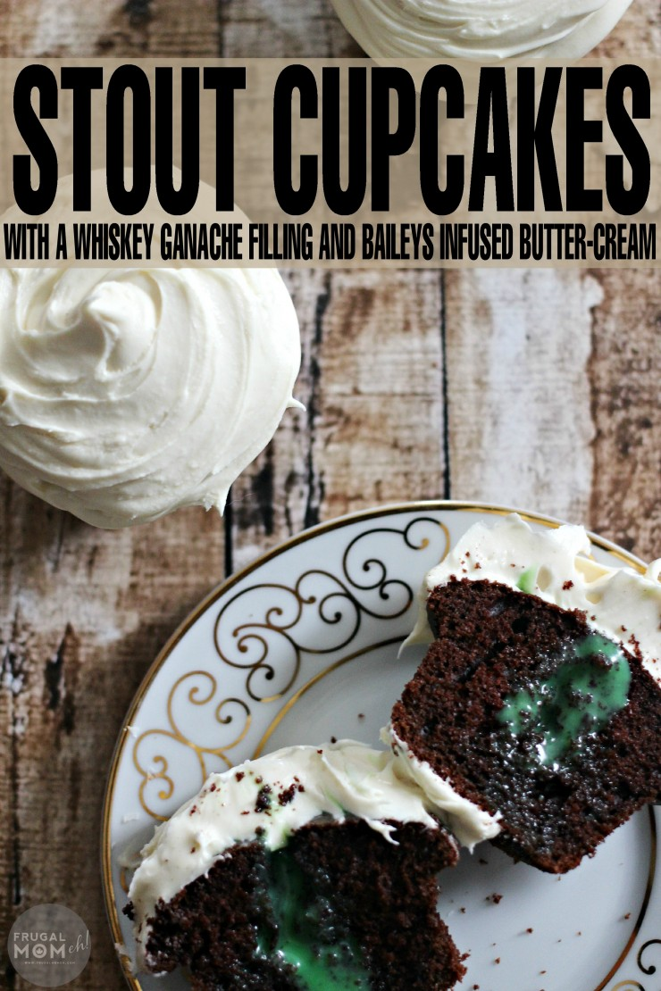 Stout Cupcakes with a Whiskey Ganache Filling and Baileys Infused Butter-Cream for an indulgent St. Patrick's Day Dessert