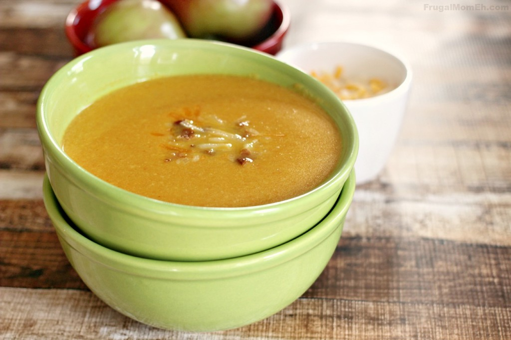 Apple & Cheese Soup featuring Kraft Shredded Cheese with a Touch of Philadelphia #MemorableMelts