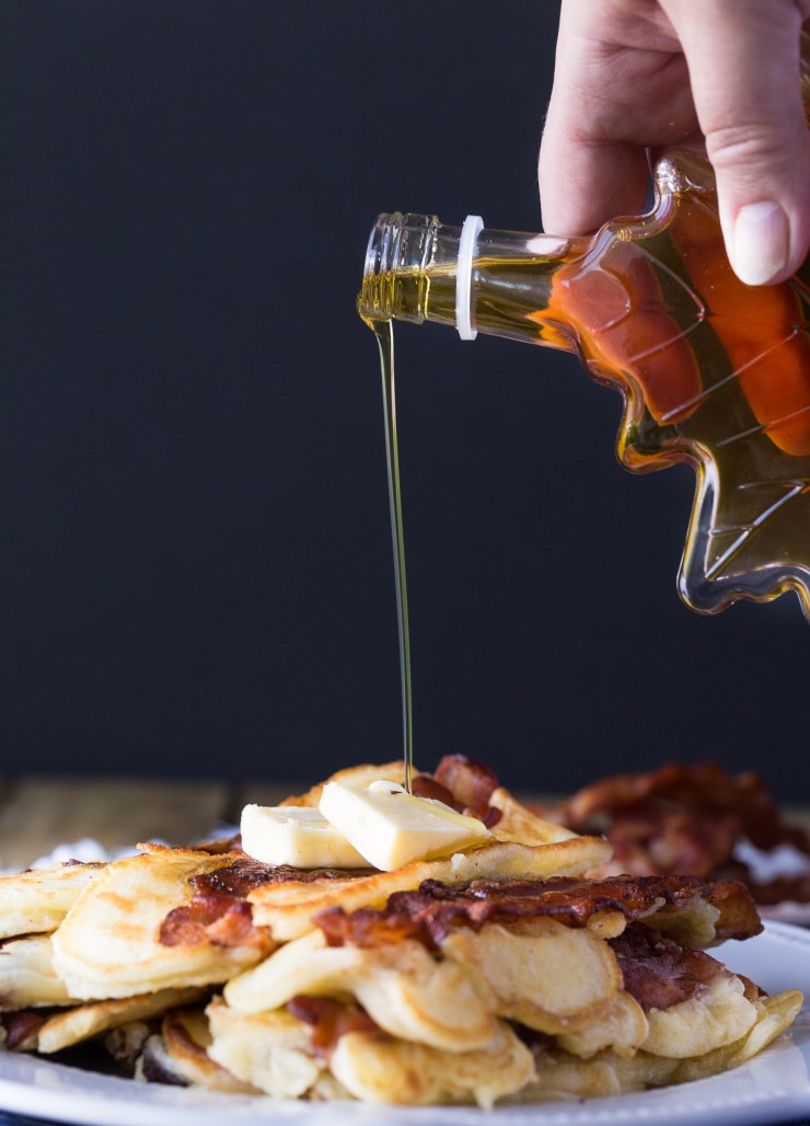 Prepare for the ultimate breakfast treat - Bacon Pancakes! You seriously can't go wrong with this delicious breakfast that is perfect for breakfast on the go or a lazy Saturday morning with the family