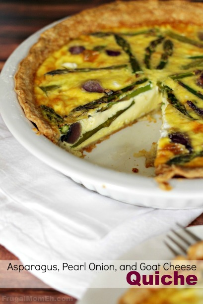 Asparagus, Goat Cheese and Pearl Onion Quiche for a fresh Spring inspired family dinner!
