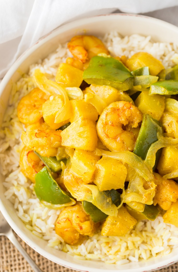 Curry Shrimp with Pineapple has serious flavour and a wonderful creamy texture that will have you coming back for more.