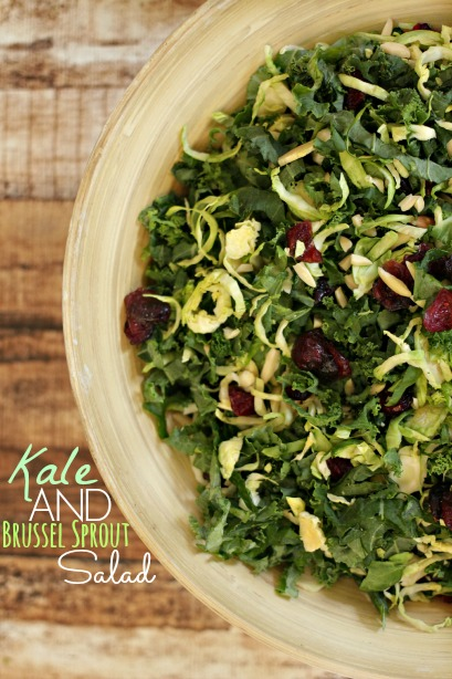 Kale and Brussel Sprout Salad is a great salad recipe for those who hate brussel sprouts!  There is no bitter flavour, just yumminess!