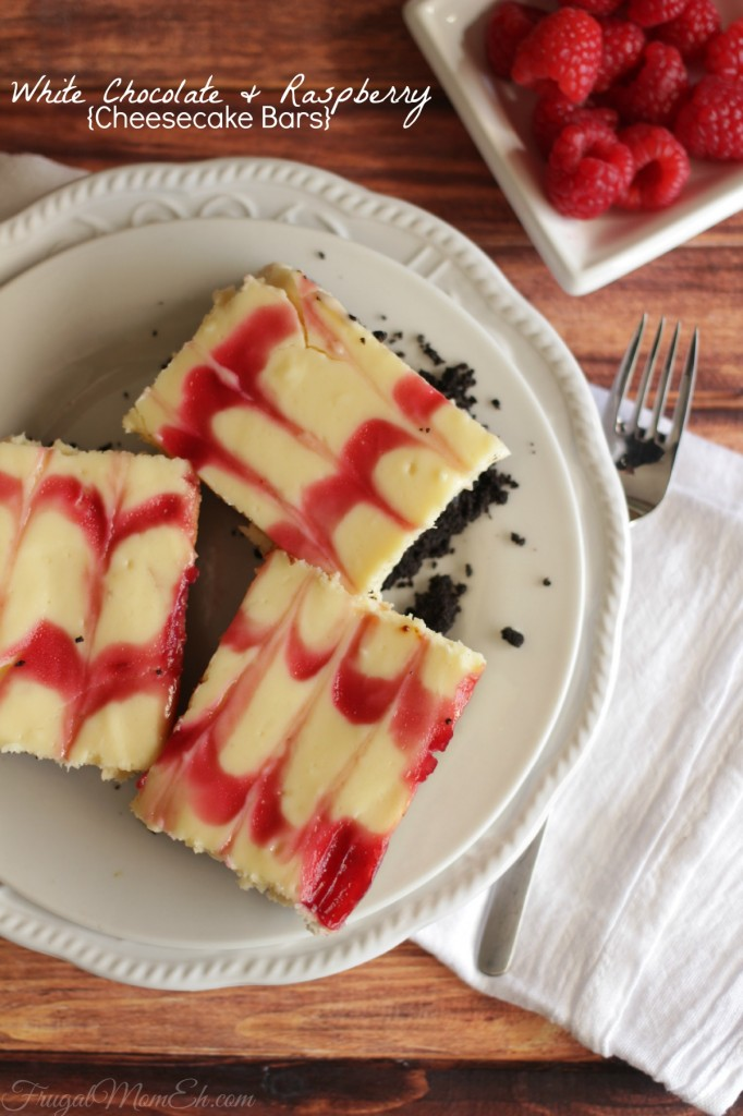 White Chocolate and Raspberry Cheesecake Bars are a rich dessert made with fresh raspberries!