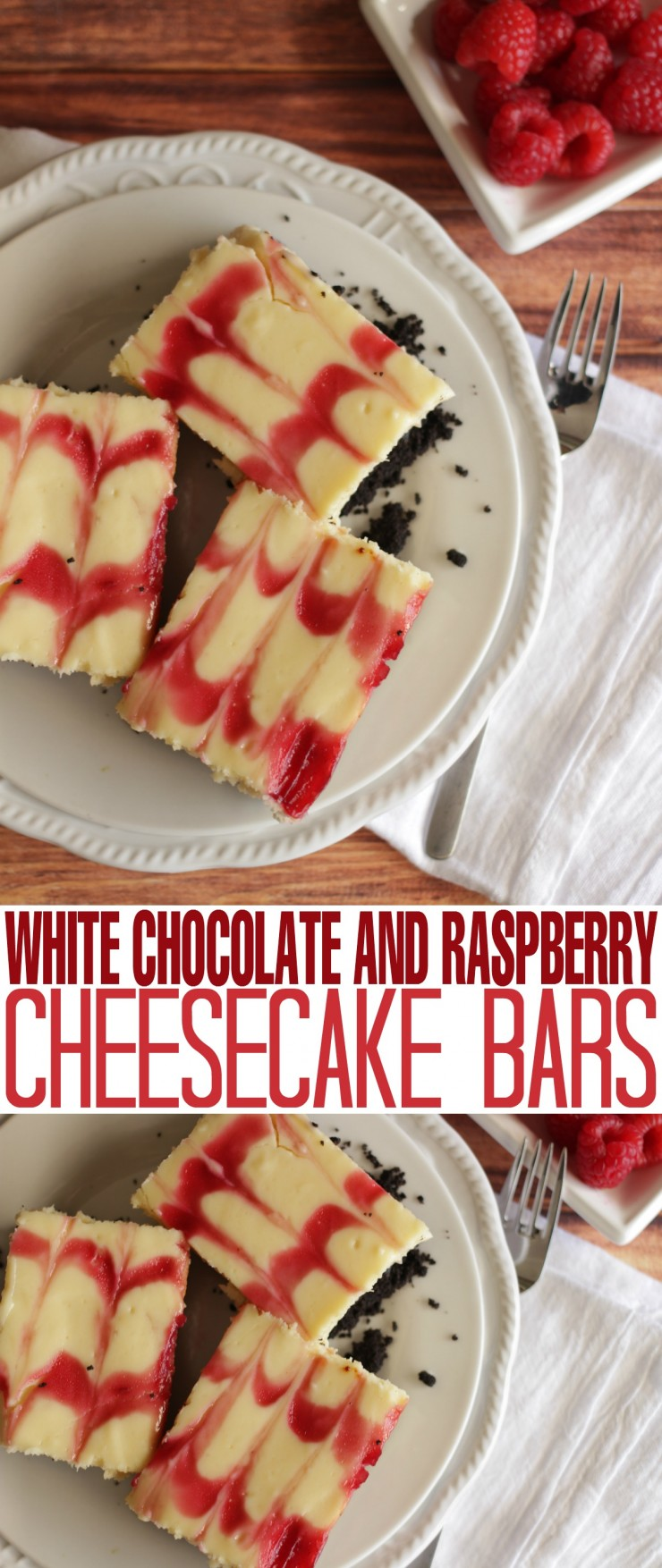 These White Chocolate and Raspberry Cheesecake Bars are a rich dessert made with fresh raspberries!