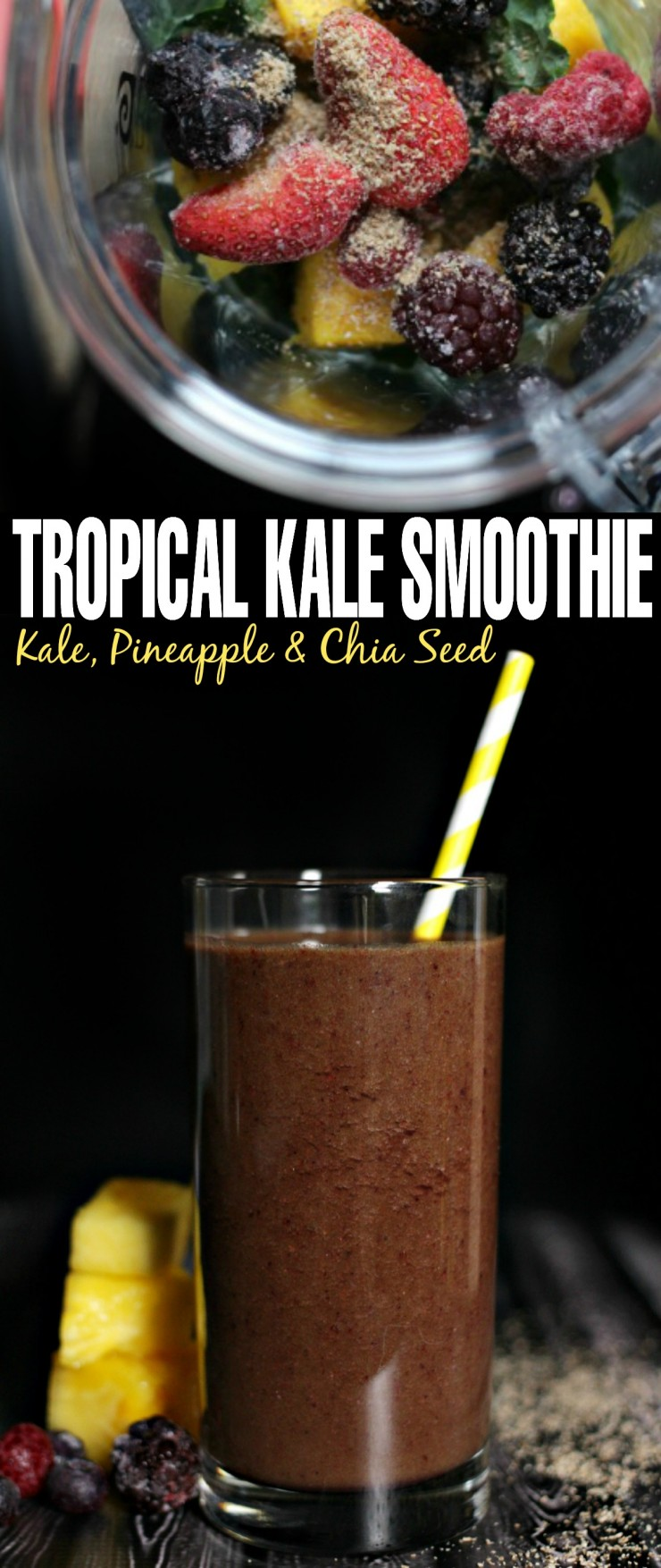 This Kale, Pineapple & Chia Seed Smoothie is a perfect summer beverage for breakfast or just a snack.  It's an amazing tropical kale smoothie without that icky green flavour!