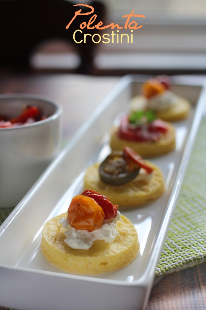 Polenta Crostini topped 3 Ways - This is a unique and gluten free appetizer; perfect party food!