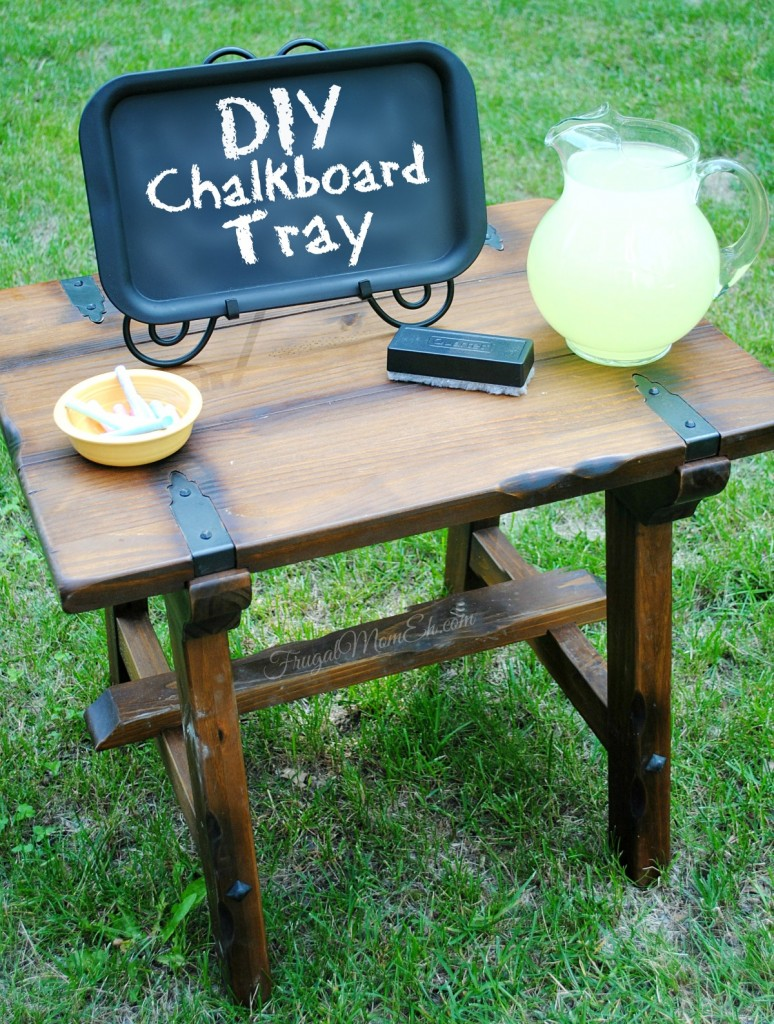 This Chalkboard Tray is a fun and functional DIY project that that works as a cute chalkboard sign or use it as is for a chalkboard food serving tray!