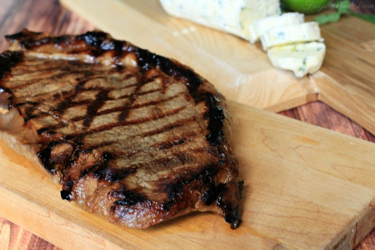 Beer Marinated Grilled Steak with a Cilantro-Lime Compound Butter