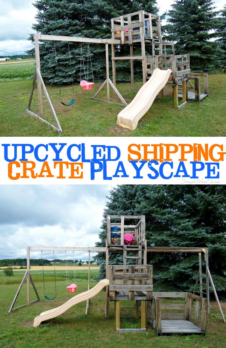 This Upcycled Shipping Crate Playscape is an impressive and frugal diy project using reclaimed wood.