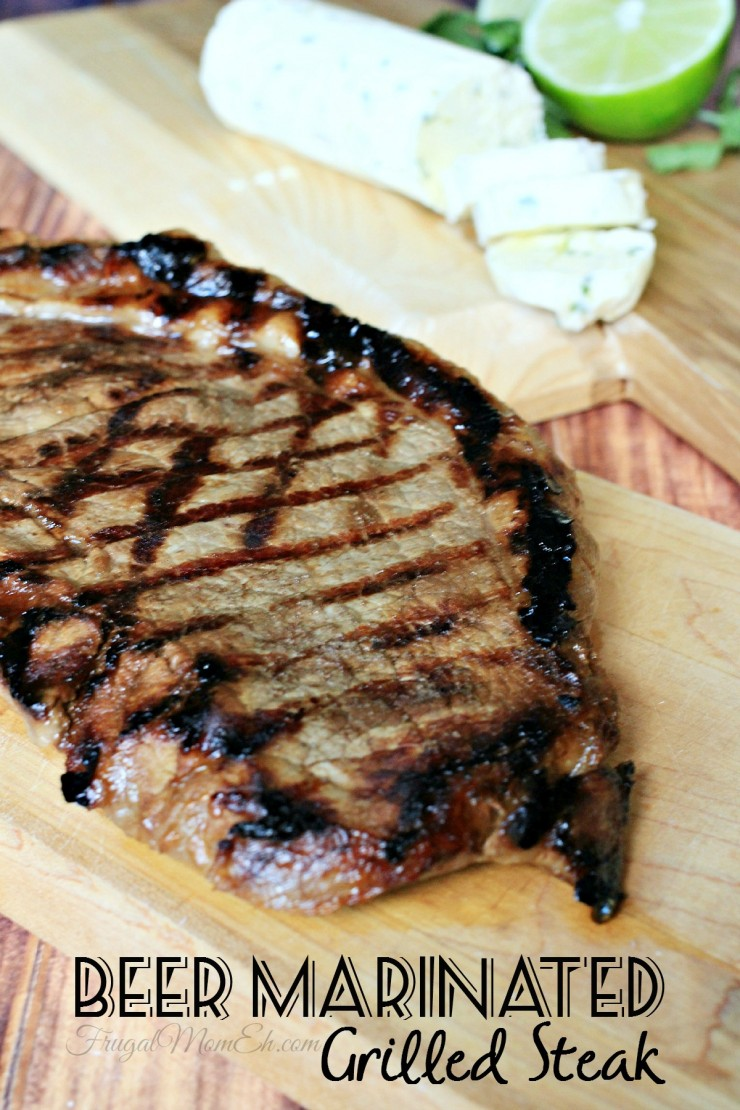 This Beer Marinated Grilled Steak with a Cilantro-Lime Compound Butter is perfect for a Summer BBQ.