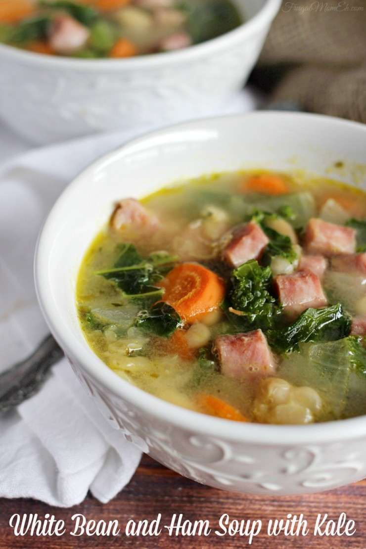 15 Minute White Bean and Ham Soup with Kale - Frugal Mom Eh!