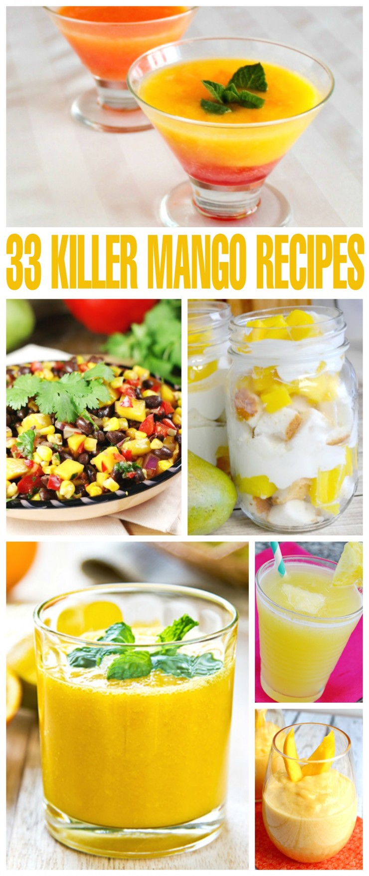 These 33 Mango Recipes full of juicy, sweet mangoes. These recipes are healthy and flavourful - mangoes are perfect in beverages, salads, main dishes and more!