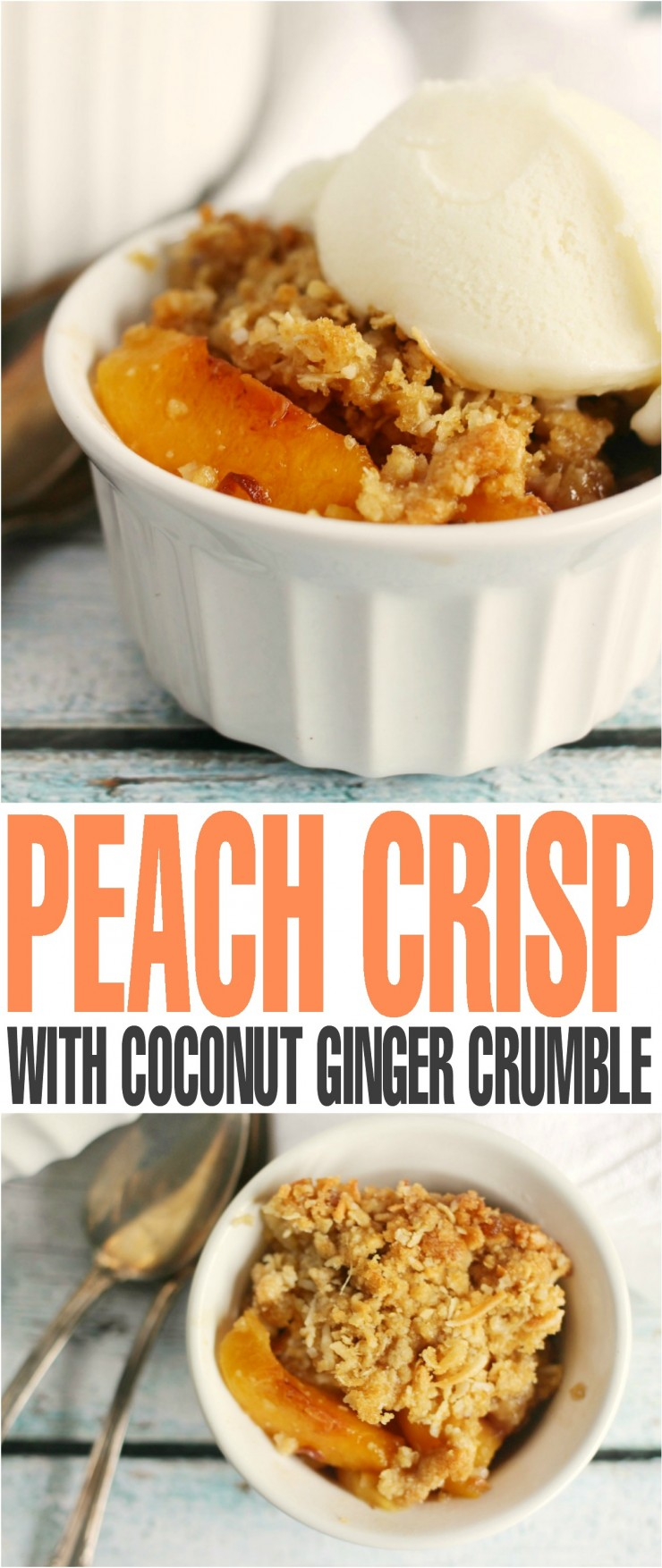 This Peach Crisp is paired with an unlikely duo of Coconut and ginger in the crumble that actually work delightfully well together.