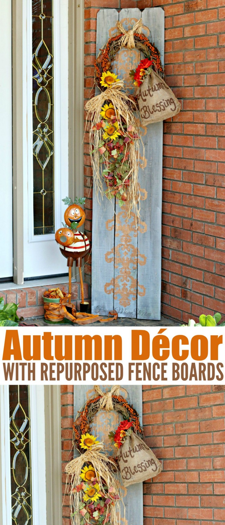 Decorate your porch with this DIY Autumn Décor project made with Repurposed Fence Boards