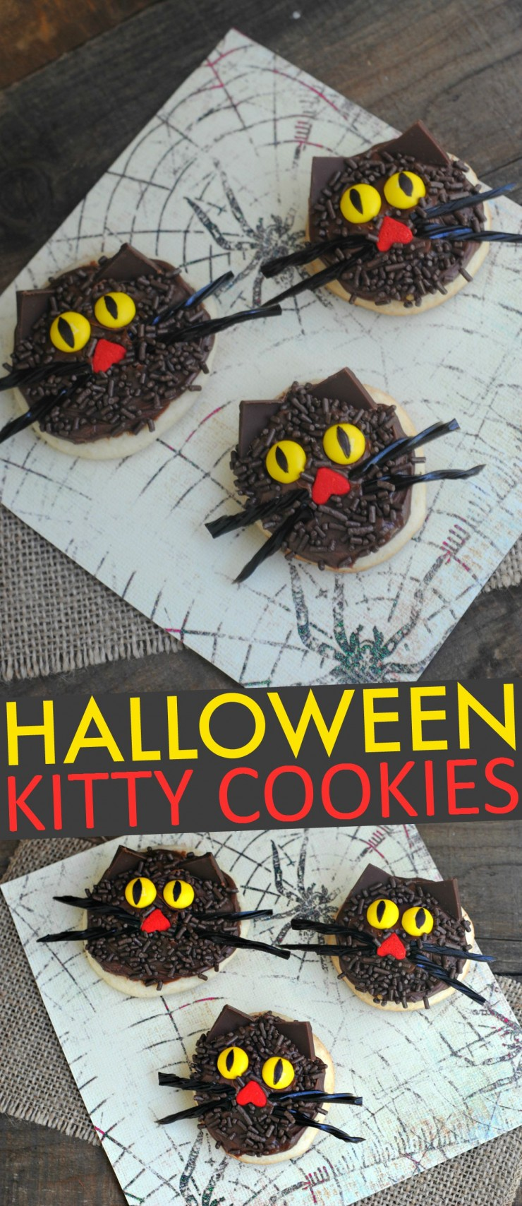 These Halloween Kitty Cookies are a Spooky feline treat perfect for kids Halloween parties!