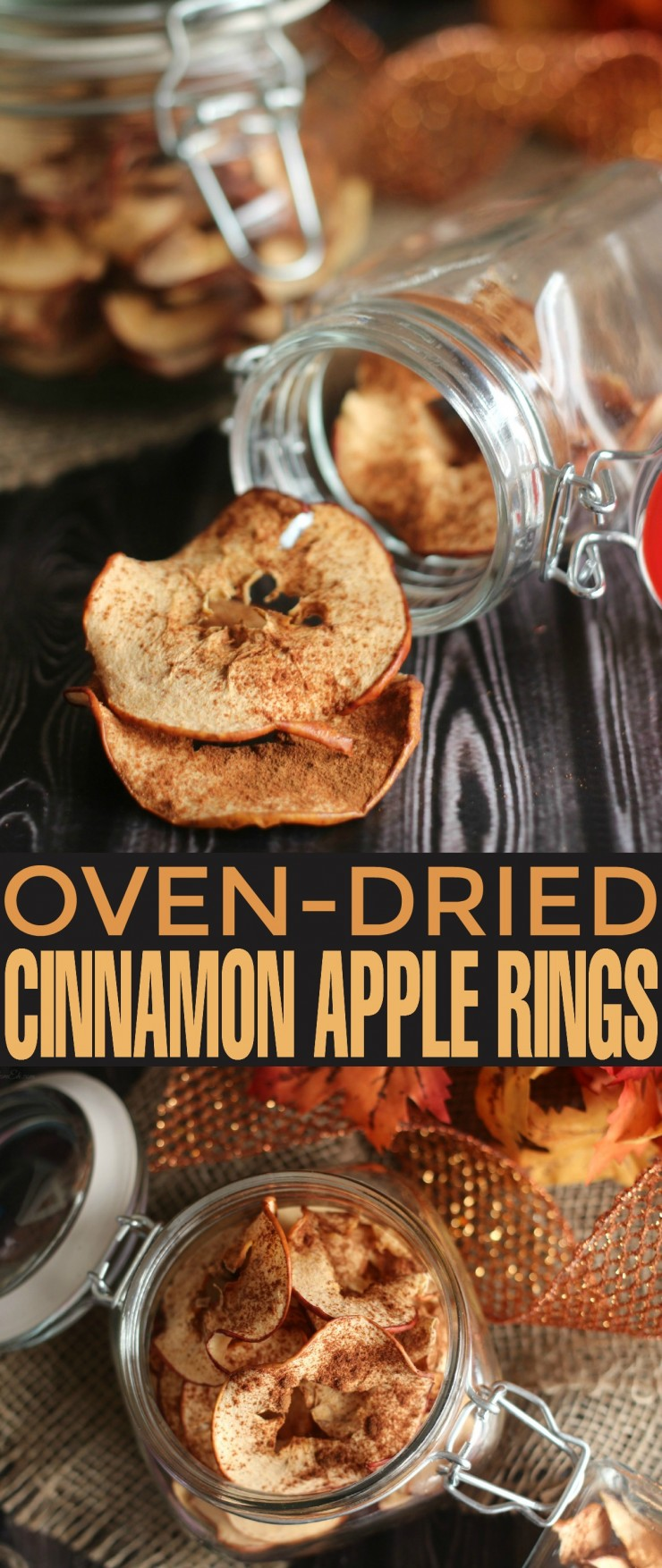 Homemade Oven-Dried Cinnamon Apple Rings. A delicious, healthy and easy to make snack with all those autumn apples!