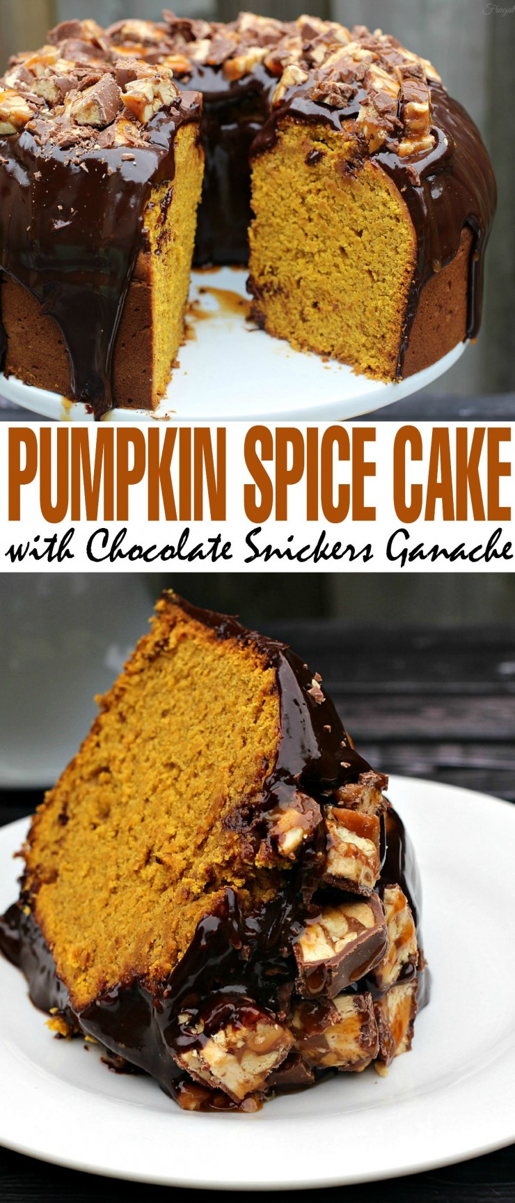 This Pumpkin Spice Cake with Chocolate Snickers Ganache is a decadent Fall Dessert that will have everyone asking you for the recipe!