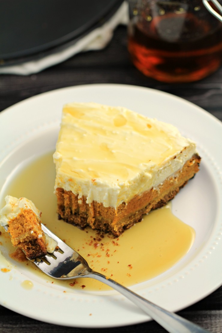 This delicious Layered Maple Pumpkin Cheesecake Pie recipe would be a perfect treat after Thanksgiving dinner or paired for dessert with a pumpkin spice latte on a cool autumn evening..