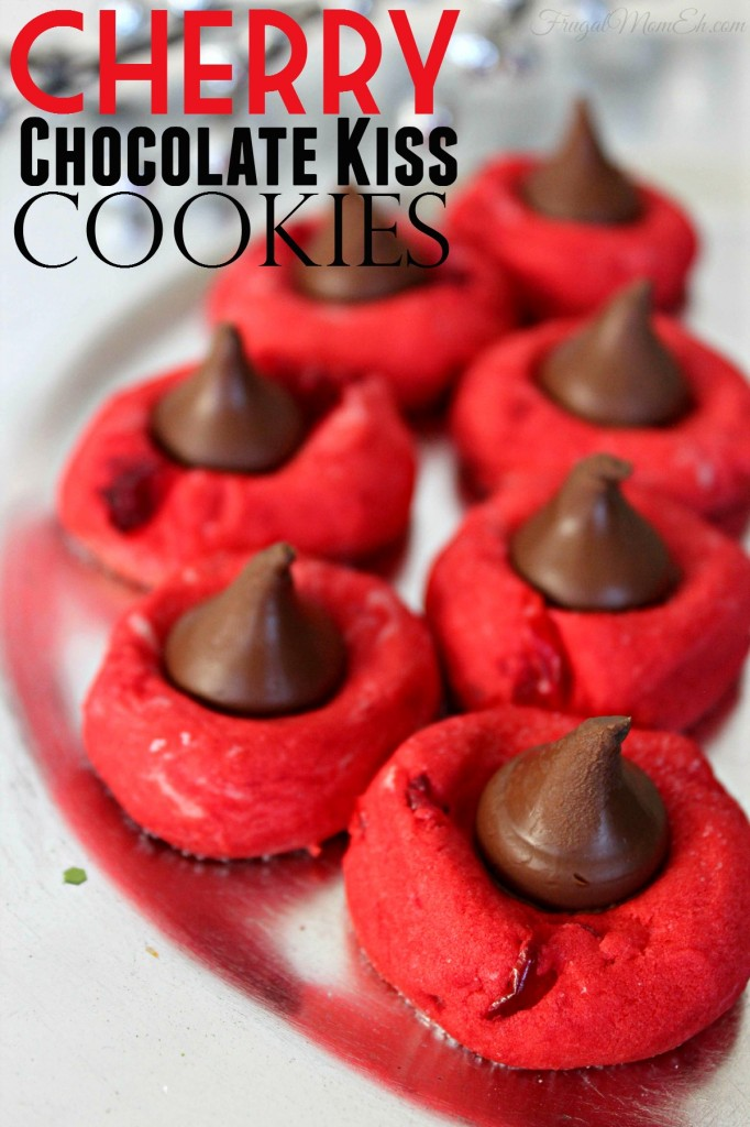 These Cherry Chocolate Kiss Cookies area delicious recipe - perfect for your Christmas desserts table.