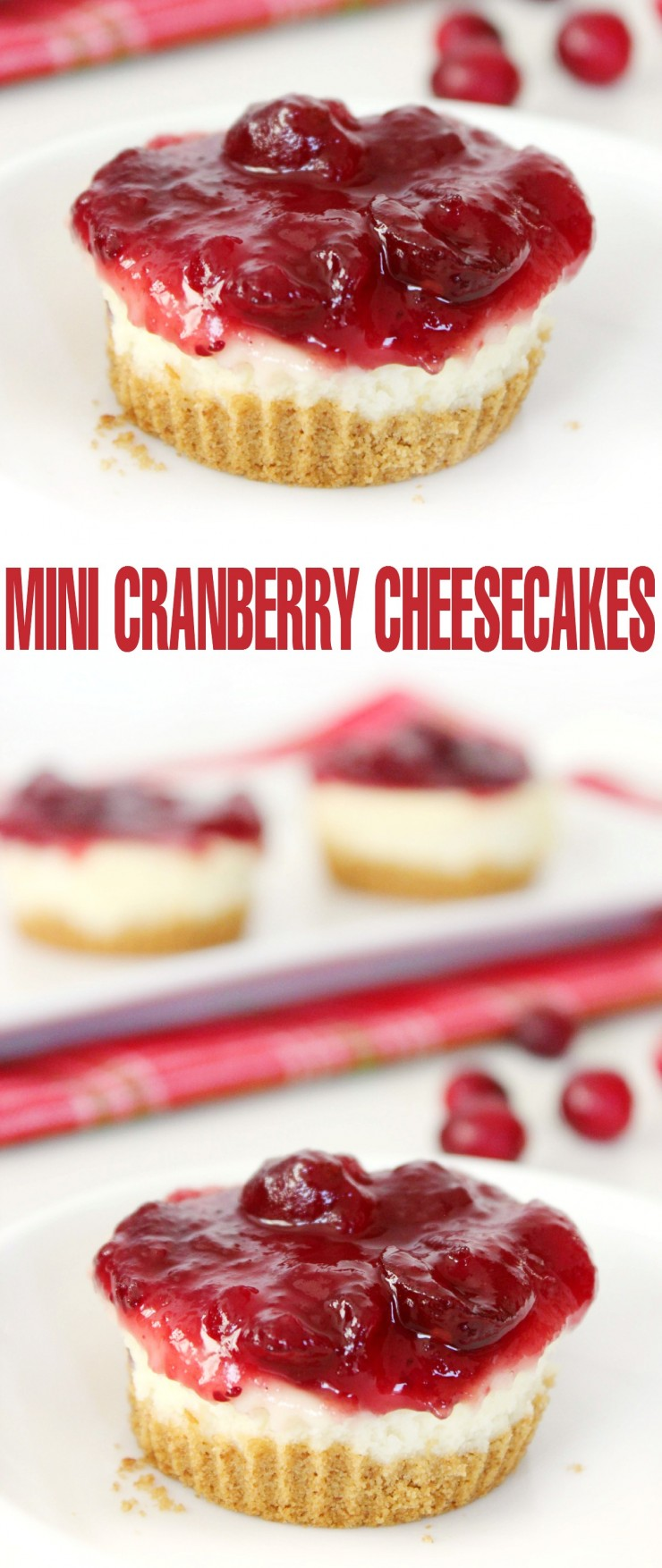 Mini Cranberry Cheesecakes are a great dessert to serve at Thanksgiving or Christmas and you won't believe how easy this recipe is!