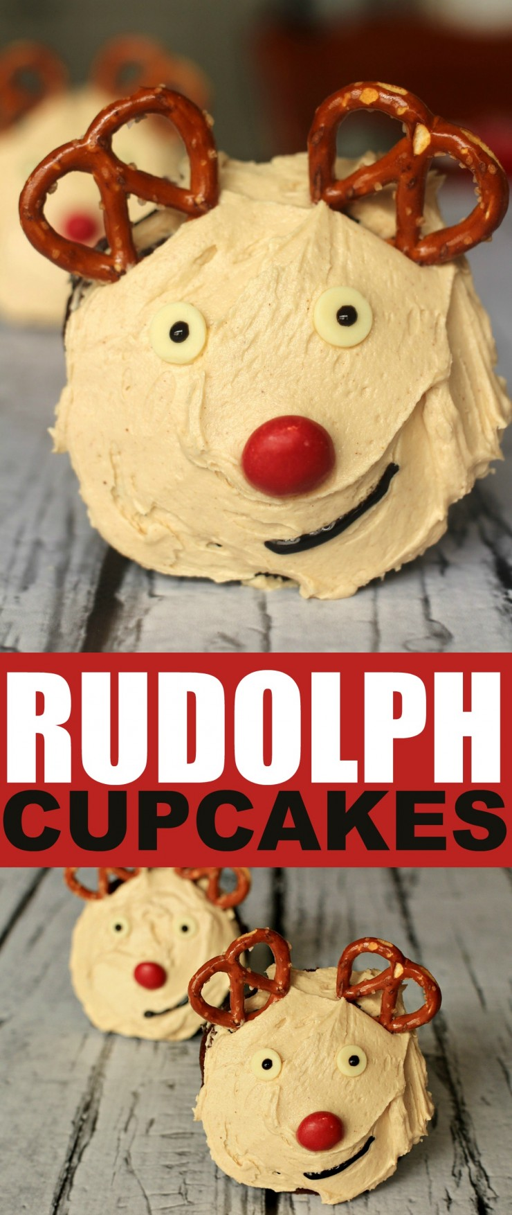 These Rudolph the Red Nosed Reindeer Cupcakes aren't just cute, they are made from scratch chocolate and peanut butter treats.  Absolute perfection!