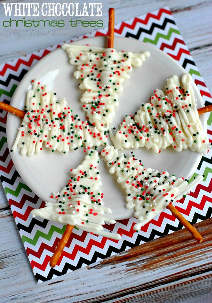 These White Chocolate Christmas Trees are a fun recipe you could serve at a holiday party, for Christmas dessert or eve attach to gifts!