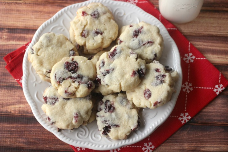 White Chocolate & Cranberry Shortbread Cookies