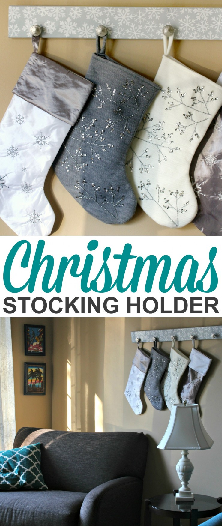This DIY Christmas Stocking Holder tutorial is an easy holiday decor idea for those without a mantel!