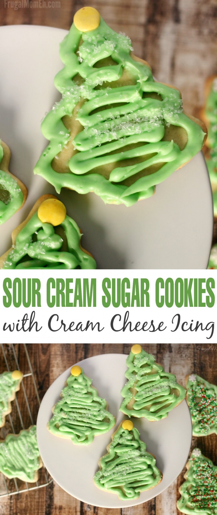 These Sour Cream Sugar Cookies with Cream Cheese Icing are an amazing Christmas dessert idea when paired with Christmas tree cookie cutters.