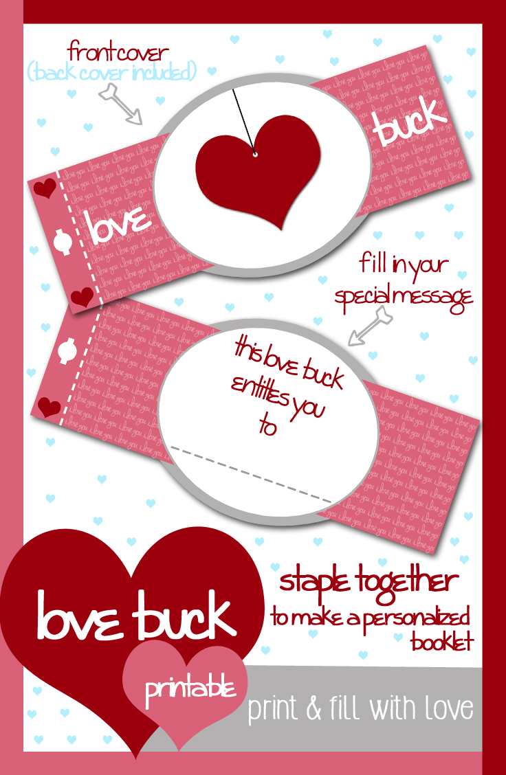 free valentines day printable love buck coupon book - Valentines Day Coupon Book