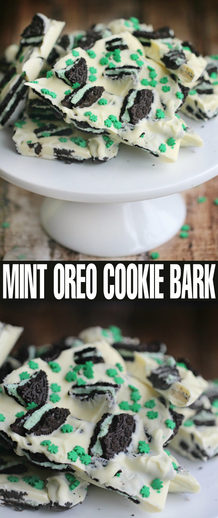 Looking for a fun and easy St. Patrick's Day inspired dessert?  Maybe something no-bake?  Check out this adorable Mint Oreo Cookie Bark made with crumbled cool mint Oreo's and white chocolate sprinkled over with cute little shamrocks.