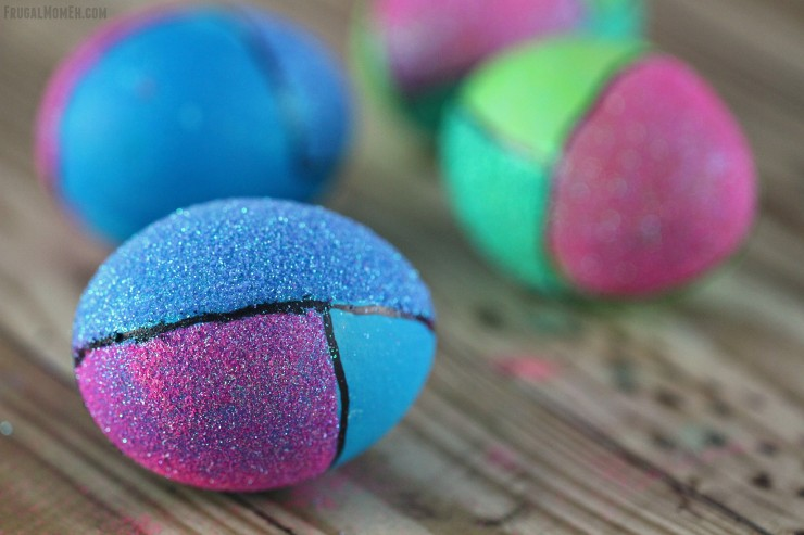 These Colour Block Easter Eggs are modern and full of glitter. These are Easter Eggs that will stand out and really make your easter home decor!