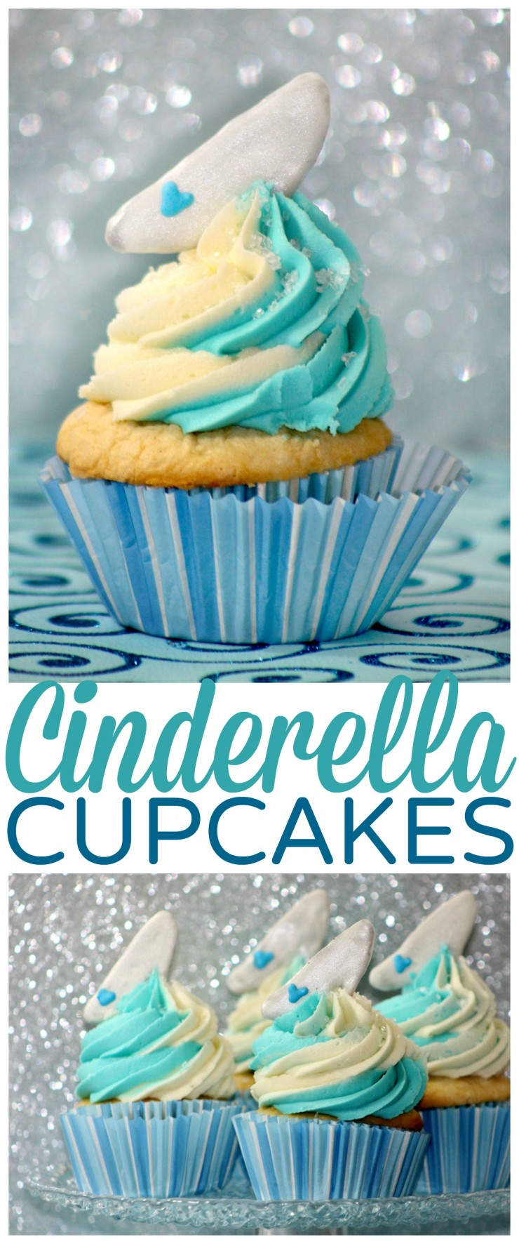 Disney's Cinderella cupcakes are inspired by Princess Cinderella and her glass slipper. Perfect for Cinderella themed parties & those who just love Disney!