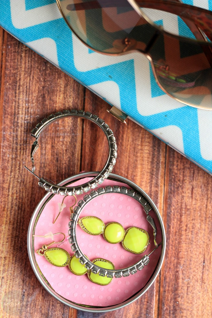 This Easy Mason Jar Lid Jewelry Dish DIY is a fun craft for kids to make for a simple but useful mother's day gift.