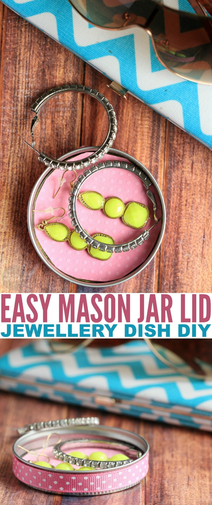 This Easy Mason Jar Lid Jewelry Dish DIY is a fun craft for kids to make for a simple but useful mother's day gift on a budget.