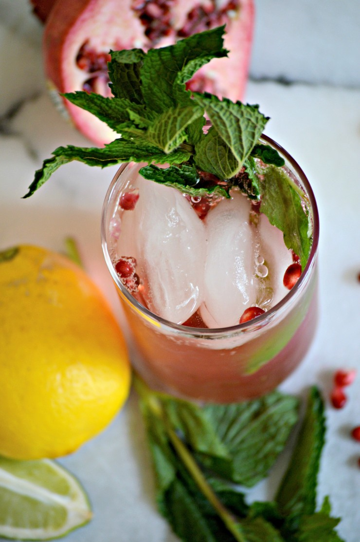 This Pomegranate Mojito Mocktail is a fun non-alcoholic drink perfect for pregnant women and those who do not drink alcoholic beverages.