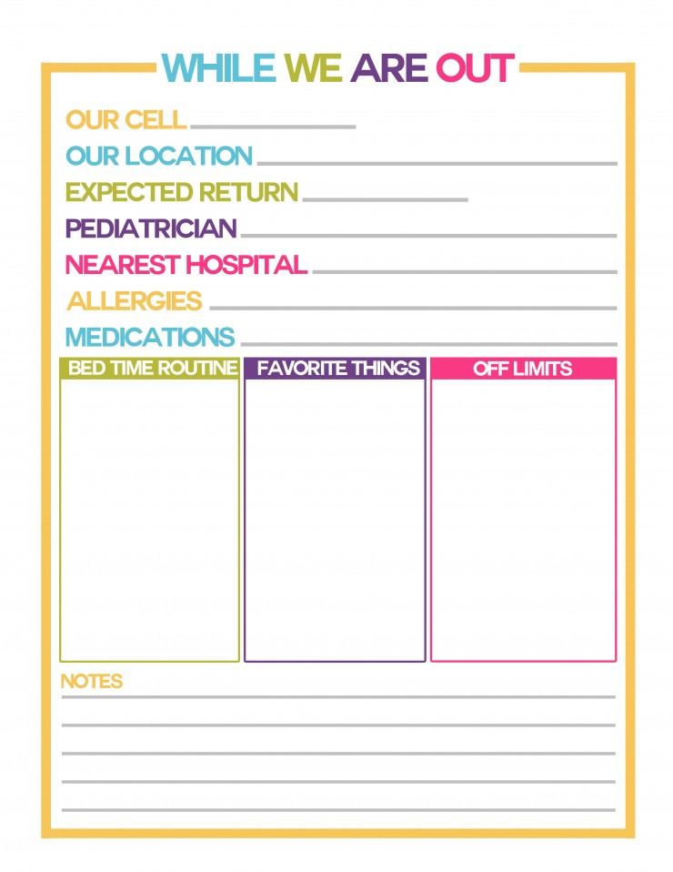 While We Are Out Free Printable to leave for your teen babysitter so they are prepared for emergencies while babysitting your children!