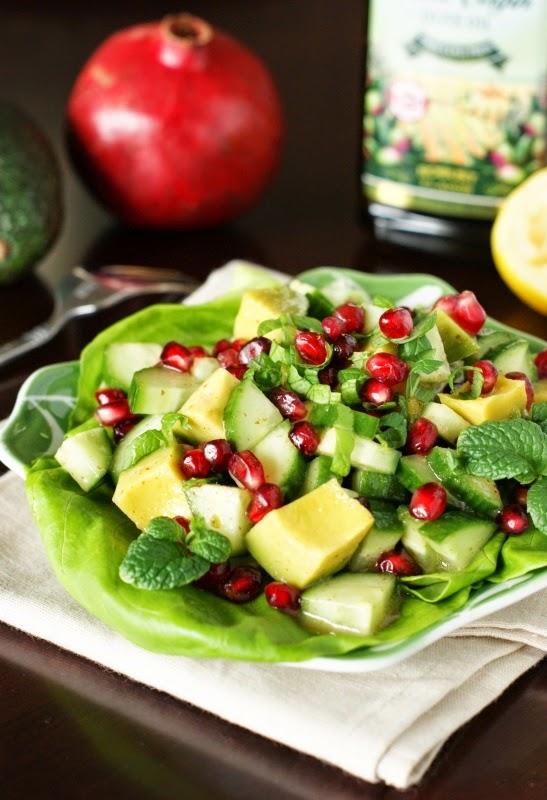 avocado pomegranate cucumber salad