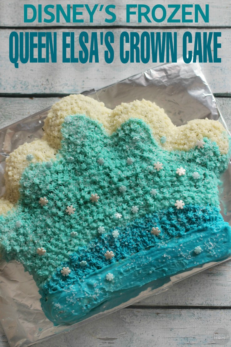This Disney's Frozen Queen Elsa Crown Cake is an easy to do Ombre Birthday Cake inspired by Disney Frozen.