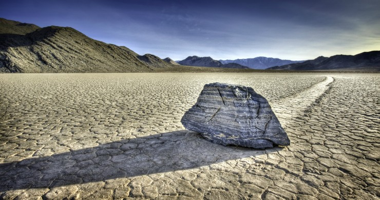 Single sliding rock located on Racetrack Playa in a remote part of Death Valley National Park.