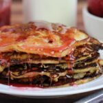 Gluten-Free Strawberry Protein Pancakes with Homemade Rhubarb Syrup